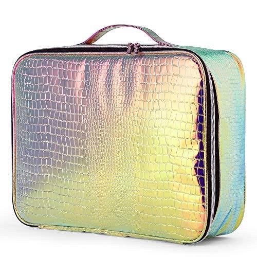 Beautify holografisches Make-Up-Case - Irisierender Kosmetik Organizer/Reiserucksack mit Reißverschluss/Kulturbeutel mit mehreren Fächern | Tragegriff und Rückengurt