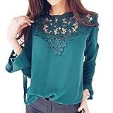 ESAILQ Damen Basic V-Ausschnitt Kurzarm T-Shirt Falten Tops mit Knopf(S,Grün)