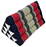 Guru-Shop Dreieck Thaikissen, Dreieckskissen, Kapok - Weinrot/schwarz, 30x30x50 cm, Asiatisches Sitzkissen, Liegematte, Thaimatte