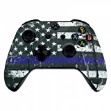 Soft Touch Blau Gestreift Flagge Xbox One S un-modded Custom Controller Einzigartiges Design (mit 3,5 Klinke)