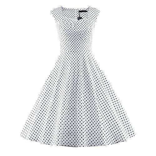 n Style Damen Vintage Rockabilly Swing Evening Kleid,DotWhite,XXXL (Männer, Die In Den 20er Jahren)