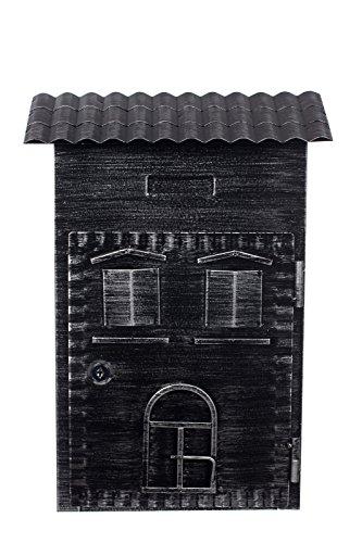 Antiker großer und sehr Edler Briefkasten LB-6021- Antik Schwarz Wandbriefkasten, Briefkasten, Englischer Briefkasten 38 cm hoch Mit Befestigungsmaterial für die Wand. mit 2 Schlüsseln, Rostfrei