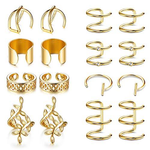 YADOCA 8 Paar Edelstahl Ohrclips Nicht Piercing Ohrringe Knorpel Ohr Manschetten Set für Männer Frauen Silber-Ton Gold-Ton Schwarz - Silber-gold-ton