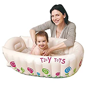 ASAB JILONG Tiny Tots Inflatable Baby Bath Tub With Heat Sensor Temperature Indicator & Raised Leg Supports, Portable Folding Travel Infant Washing Tub