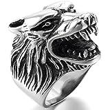 MunkiMix Acero Inoxidable Anillo Ring Plata Negro Lobo Cabeza Gótico Gothic Biker Hombre