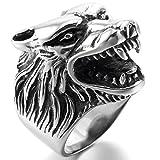 MunkiMix Acero Inoxidable Anillo Ring El Tono De Plata Negro Lobo Cabeza Talla Tamaño 35 Hombre