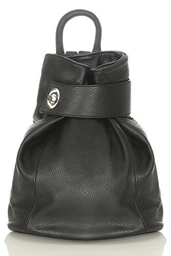 malito Donna Zaino Borsa nei Colori Moda Vera Pelle Borsa a Tracolla R400 (nero)