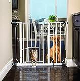 Carlson Extra-Wide Walk-Thru Gate with Pet Door (White)