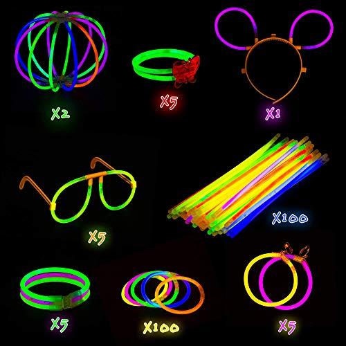 Imagen de paquete de fiesta de barritas luminosas con conectores  suministros de luces de colores para todo tipo de fiestas, cumpleaños y festivales | pulseras brillantes, pendientes y anteojos. alternativa