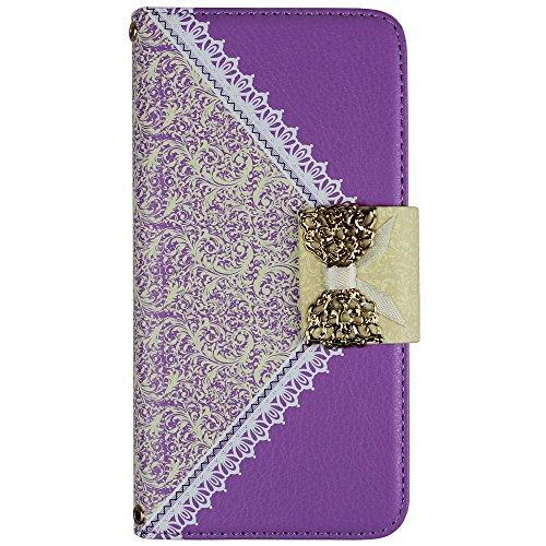 """xhorizon TM Luxe Noël Pu Cuir contraste de couleur flip ID Carte Portefeuille Wallet Case Cover ZY stand Etui Coque Housse sac à main Prochette pour 5.5 """" iPhone 6 Plus Violet"""