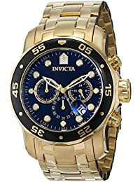 Invicta Pro Diver Men's Chronograph Quartz Watch with Stainless Steel Gold Plated Bracelet – 0072