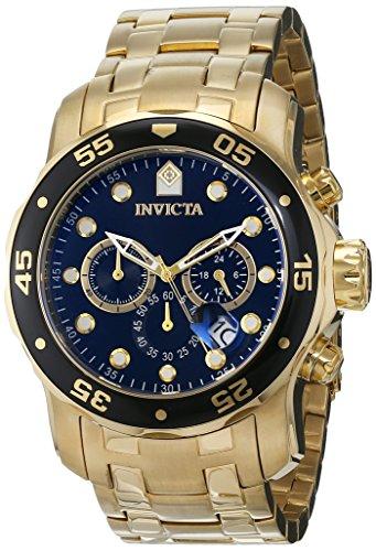 Herren Schwarz Invicta Uhren (Invicta Herrenuhr Chronograph Quarz mit Weißgoldarmband – 0072)