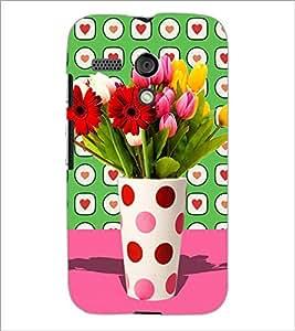 PrintDhaba Flower Vass D-2795 Back Case Cover for MOTOROLA MOTO G (Multi-Coloured)