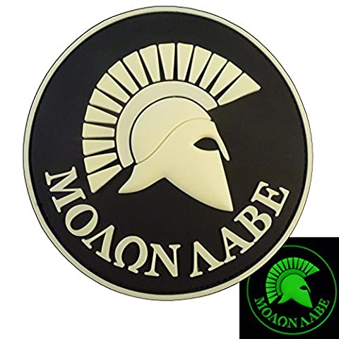 Glow Dark GITD Spartan Molon Labe US Marine Navy Seals Morale Tactical PVC 3D Gomme Fastener Écusson Patch