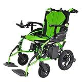 Sillas de ruedas eléctrica eléctrica de Litio Plegable discapacitada Ancianos portátil y portátil (Color : Green)