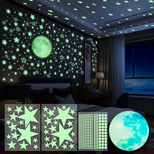 Yosemy Adesivi da Parete Fluorescenti 4pcs Stelle Luna Puntini Fluorescenti Decorazione Adesivo Camera da Letto Cameretta Finestra Soggiorno Regalo