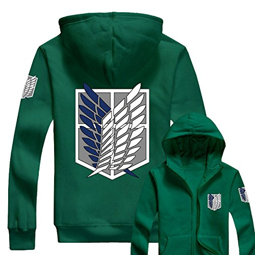 Anime Hoodie Wings of Liberty Vêtements AOT Survey Corps Cosplay Capuche Zip Up Hoody Sweatshirt Costume (M, Green)