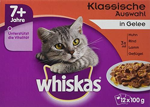 Whiskas Katzenfutter Nassfutter Senior 7+ Klassische Auswahl in Gelee, 12 Portionsbeutel (12 x 100g) Klassisches 12