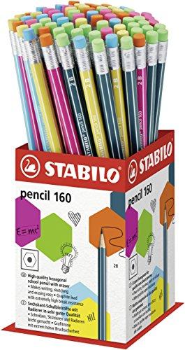 STABILO 1602B graphit Bleistift mit Radierer Tipp–verschiedene Farben (72Stück)
