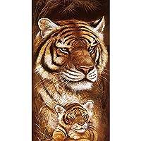 Byeel DIY 5D Diamond Painting Kit, Full Diamond Embroidery Rhinestone Cross Stitch Arts Craft Supply for Home Wall Decor Tiger Lion Animals For Living Room 30x50cm(C,30x40)