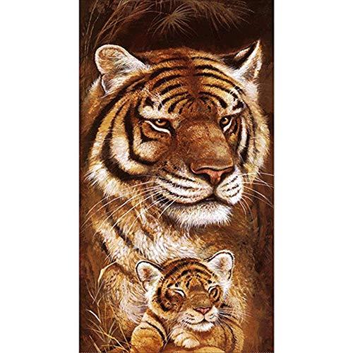 Tiger 5D DIY Diamant-Malerei Wandbild Kit Wohnzimmer-Dekor-Wand-Aufkleber Schlafzimmer Cross Stitch - Tiger Kraut