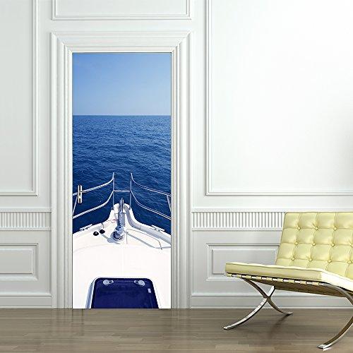 Yongqiang 3D Tür Aufkleber Wandaufkleber Wohnzimmer Schlafzimmer Dekoration Wandbild Aufkleber Motor Yacht Auf Der Ozean Tapete Selbstklebende 77X200 cm -