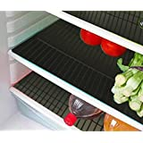 E-Retailer Plastic Fridge Mat Refrigerator Drawer Mat/Fridge Mat/Place Mat Set Of 3 Pcs (13*19 Inches) Multi Purpose Use (Black, Free)
