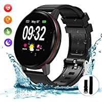 Bluetooth Smart Watch, Fitness Watch IP68 Waterproof Smartwatch 1.3 Inch Full Touch Screen with Heart Rate Monitor, Sleep Monitor, Activity Tracker Pedometer SMS Call Notification for iOS Android