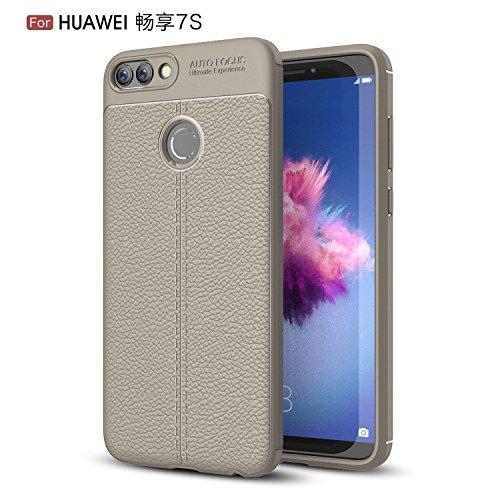 Huawei psmart 7s Hülle, Huawei psmart 7s Handyhüle, Alfort Prämie TPU Schutzhülle Bling Glitzer Lederhülle für Huawei psmart 7s Smartphone Handy Flip Case Cover mit Standfunktion (Grau)