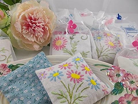 Vintage Embroidery Lavender Sachet Set - vintage embroidered linen, drawer sachets, english lavender, gift for mum, mother's day