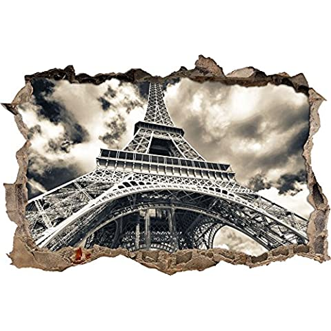 gigantesca parete svolta Torre Eiffel a guardare 3D, parete o in formato adesivo porta: 62x42cm, autoadesivi della parete, autoadesivo della parete, decorazione della