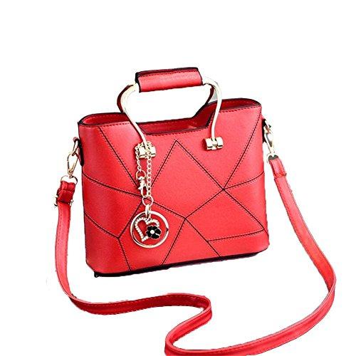 HQYSS Damen-handtaschen JQAM süße Dame PU-lederner Schulter-Kurier-Handtaschen-Querschnitt geprägte Einkaufstasche big red