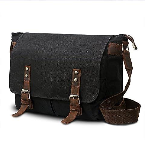 SUVOM® Mens Canvas Laptop Messenger Bag Leather Crossbody Shoulder School Satchel-14 (Tela Sling)