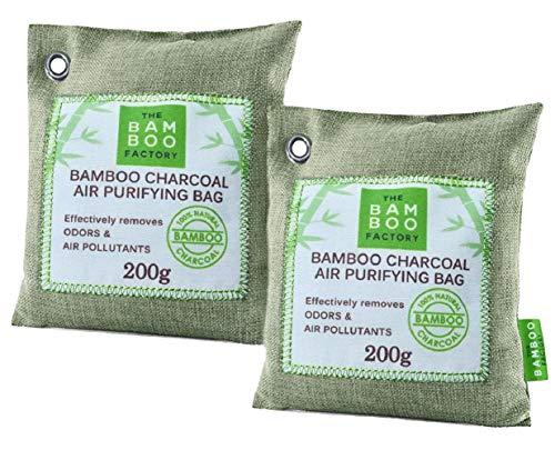 The Bamboo Factory Bolsas de carbon activado de Bambú purificador de aire para el hogar 100{7039356a20ced8de105244165496c9f51b21ad03ddf7c3acfd619d18c103f29e} natu-ral - Bolsas antihumedad y neutralizador de olores para casa y ambientador coche - 2x Bolsa reusable