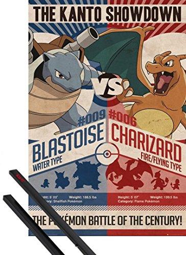 Poster + Sospensione : Pokemon Poster Stampa (91x61 cm) Red V Blue E Coppia Di Barre Porta Poster Nere 1art1®