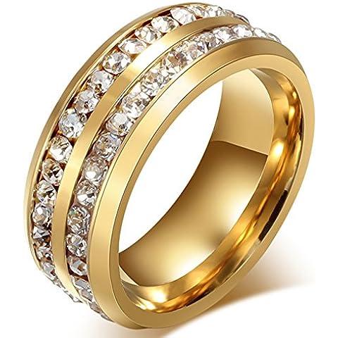 Forma Doble Redonda Acero Inoxidable Anillos de Boda 8mm Para Hombre y Mujer Anillo de Amor Oro Por