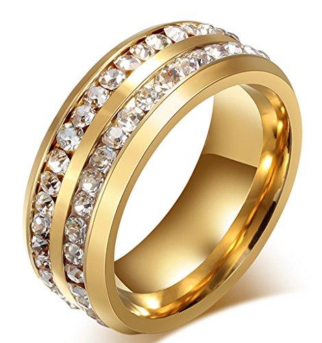Herren-Ring Titan Stahl Zirkonia zweireihige Kristall Trauringe Weiss Strass Linie Gold AnaZoz Schmuck