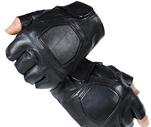 Woven Knuckle (SED Herren 'S Handschuh Half Knuckle mit antreibenden Lederhandschuhen,Schwarz,Einheitsgröße)