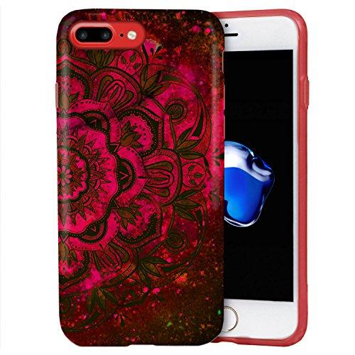 iPhone 8 Plus / iPhone 7 Plus Hülle, ZUSLAB Marmor Muster Schutzhülle, Weiche Flex TPU Silikon Bumper Case Ultra Dünn Handytasche für iPhone 8 Plus / iPhone 7 Plus Blutig Rot Mandala