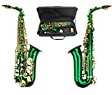 Merano E Flat Green Alto Saxophone with Zippered Hard Case + Mouth Piece,Screw