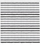 Abakuhaus Duschvorhang, Symmetrische Graue und Weiße Streifen Monochrom Tont Bürsten Linien Grunge Retro Digital Druck, Blickdicht aus Stoff mit 12 Ringen Waschbar Langhaltig Hochwertig, 175 X 200 cm