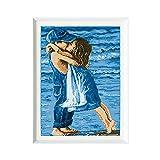 Kit de punto de cruz TOPQSC 1 Amantes en la playa Contado Impreso en lienzo Kit de bordado de costura 11CT Conjunto infantil Beso de niña y niño