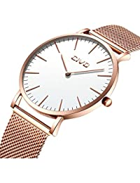CIVO Mens Womens Unisex Watch Ultra Thin Minimalist Waterproof Fashion Wrist Watches with Stainless Steel Mesh Band Business Dress Casual Luxury Quartz Watch for Man Woman