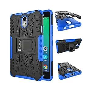 TARKAN Hard Armor Hybrid Rubber Bumper Flip Stand Rugged Back Case Cover for Lenovo Vibe P1m (Blue)