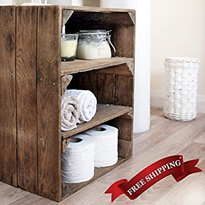 Wooden Apple Crate Double Shelf; handmade in Kent, for storage & display
