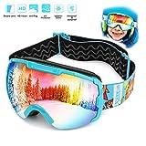 Skibrille Kinder Schneebrille Kinder Snowboardbrille Ski Goggles -Helmkompatible Skibrillen mit OTG und Dual-Layer Linse Technology,UV 400nm,HD-Linsen,UV-Schutz, Sandschutz, Windschutz, Antibeschlag