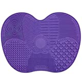 TOOGOO(R) Silicone Makeup Brush Cleaning Mat Scrubbing Pad Gloves With 7 Separate Sucker Solid Adsorption - purple