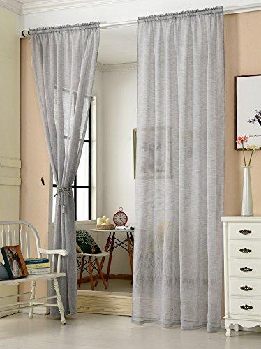 WOLTU® VH5860hgr-2, 2er Set Gardinen transparent mit Kräuselband Leinen Optik, Doppelpack Vorhang Stores Voile Fensterschal Dekoschal für Wohnzimmer Kinderzimmer Schlafzimmer, 140x225 cm, Hellgrau