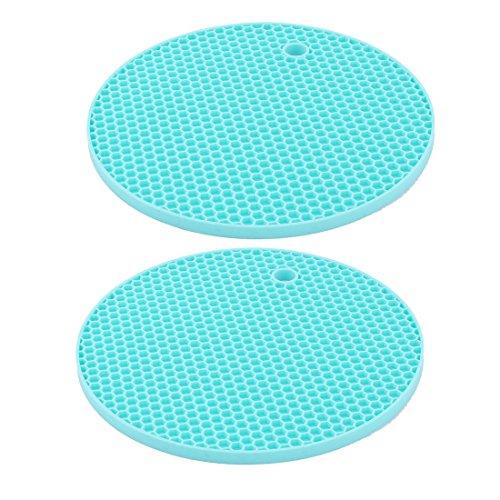 sourcingmap® 2xHaus Silikon Waben Design Schüssel Teller Tasse Hitzebeständige Matte Pad Cyan