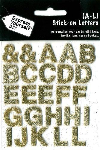 DIY Luxus- 3D-Sticker Buchstaben Alphabet A-L Glitter gold - Gold Glitter Scrapbooking
